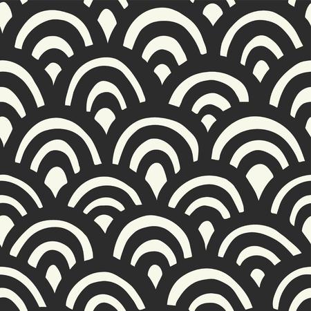 Seamless hand drawn waves pattern. Japanese background Illustration