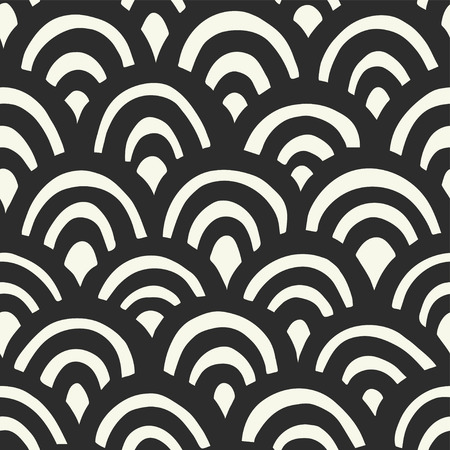 Seamless hand drawn waves pattern. Japanese background Ilustrace