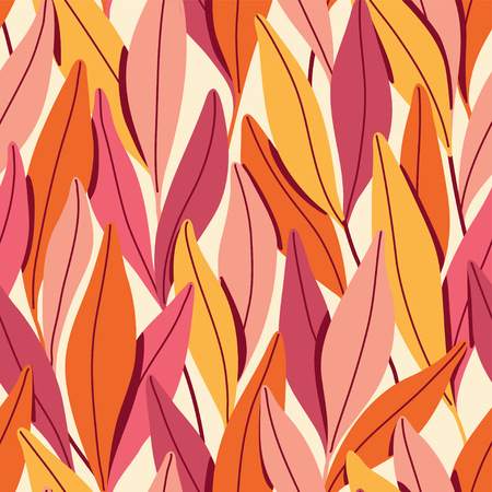 Vector seamless pattern with branches and leaves. Reklamní fotografie - 124604910