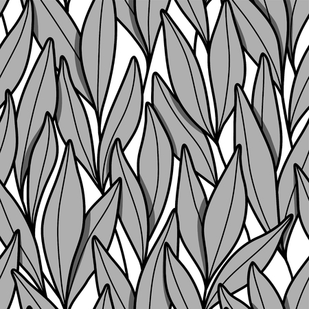 Vector seamless pattern with branches and leaves.