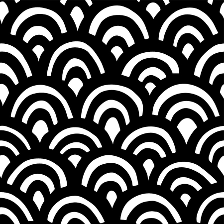 Seamless hand drawn waves pattern. Japanese background Illustration
