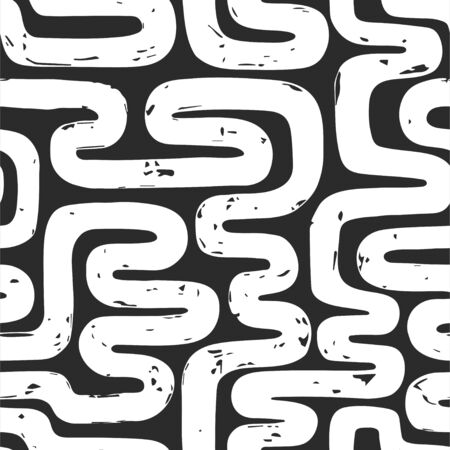 Abstract hand drawn background with paintbrush endless line. Vector seamless pattern