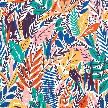 Vector seamless pattern with cats and tropical leaves. Trendy style.