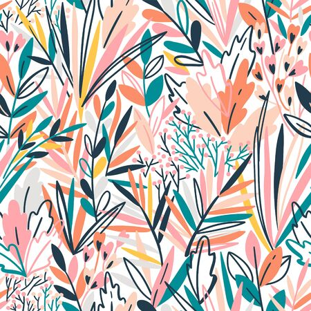 Colorful seamless pattern with tropical exotic leaves. Rainforest background Ilustrace