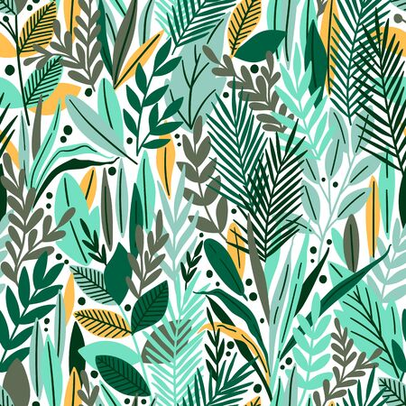 Seamless pattern with tropical leaves. Beautiful print with hand drawn exotic plants. Vector illustration. Ilustrace