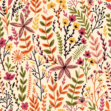 Cute Floral seamless pattern with tiny flower. Wild flowers illustration. Elegant template for fashion prints