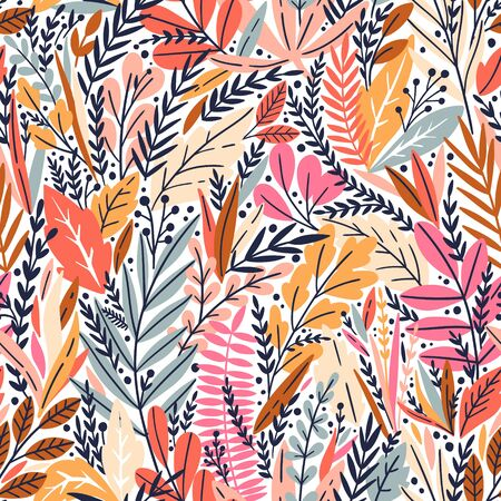 Vector seamless pattern with bright tropical leaves. Trendy style. Exotic background Ilustrace