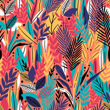 Seamless pattern with tropical leaves. Beautiful print with hand drawn exotic plants. Vector illustration.  イラスト・ベクター素材