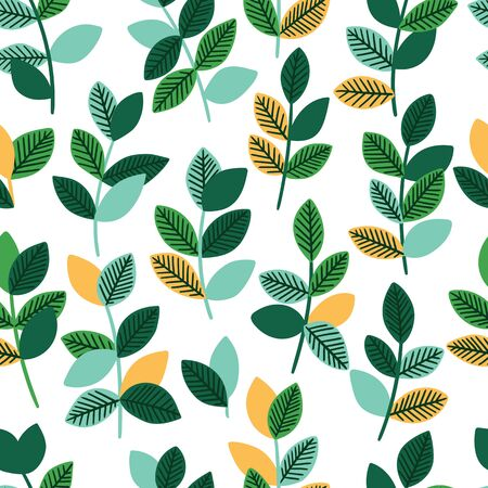 Beautiful seamless pattern with leaves. Decorative natural background. Vector illustration.