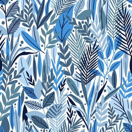 Seamless pattern with tropical leaves. Beautiful print with hand drawn exotic plants. Vector illustration. Çizim