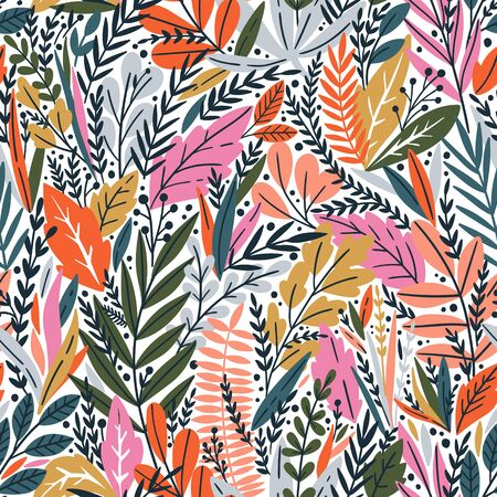 Vector seamless pattern with bright tropical leaves. Trendy style. Exotic background Ilustracja