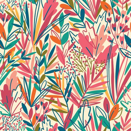 Colorful seamless pattern with tropical exotic leaves. Rainforest background 向量圖像