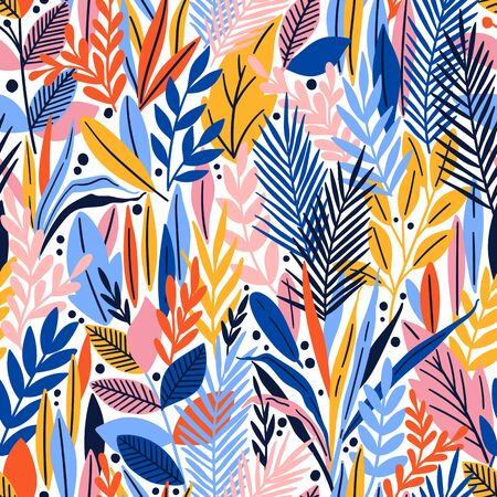 Seamless pattern with tropical leaves. Beautiful print with hand drawn exotic plants. Vector illustration. Stok Fotoğraf - 132298207