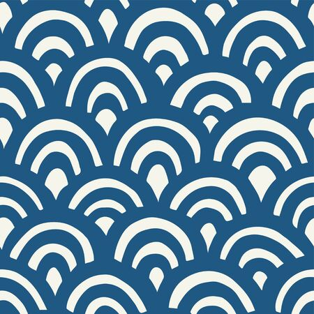 Seamless hand drawn waves pattern