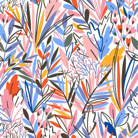 Colorful seamless pattern with tropical exotic leaves Иллюстрация