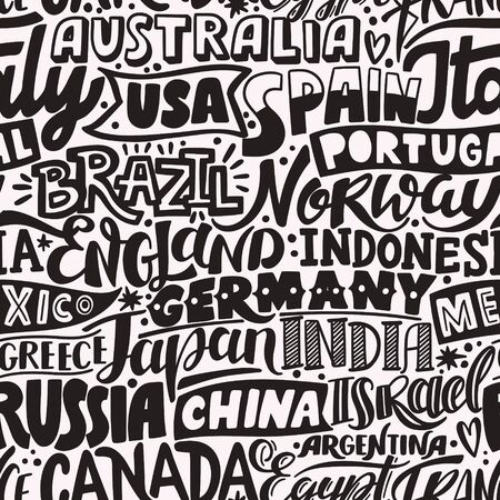 Lettering hand drawn seamless pattern with countries.