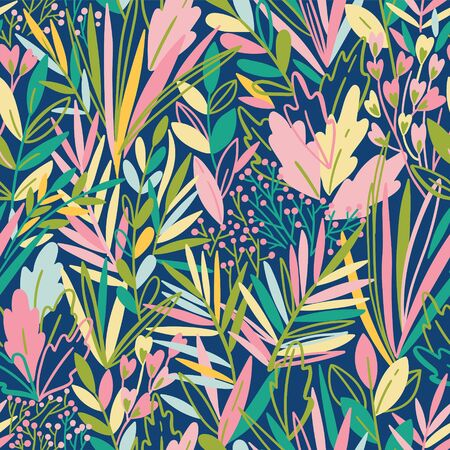 Colorful seamless pattern with tropical exotic leaves. Rainforest background Иллюстрация