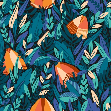 Beautiful vector floral seamless pattern with summer herbs and butterflies