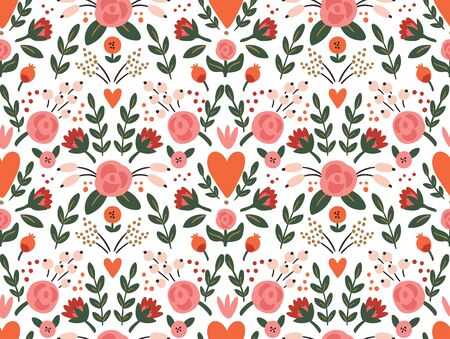 Beauty seamless roses and hearts pattern. Wedding or Valentine vector background