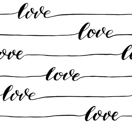 Abstract seamless love calligraphy pattern. Vector background