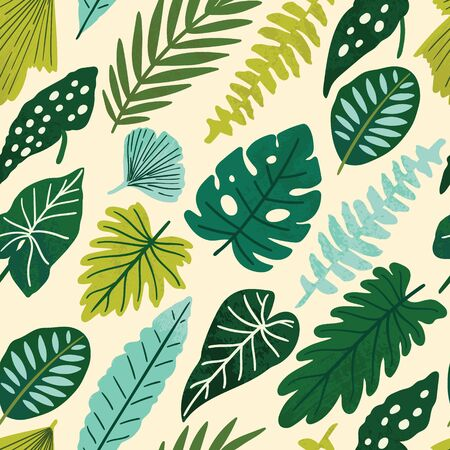 Tropical seamless leaves pattern. Vector illustration Banque d'images - 138391132
