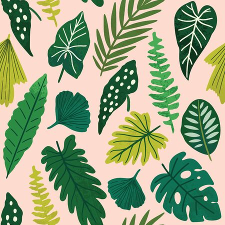 Tropical seamless leaves pattern. Vector illustration