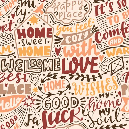 Vector seamless pattern with Home handwritten letterings and symbols. Hand drawn background