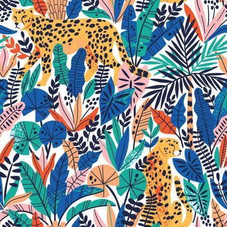 Cheetah with palm leaves exotic seamless pattern. Summer paradise in tropical jungles with wild animals, and fantastic florals. Ilustração Vetorial