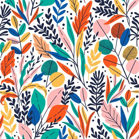 Exotic vector seamless pattern with eucalyptus leaves and plant branches. Tropical floral background Vektorgrafik
