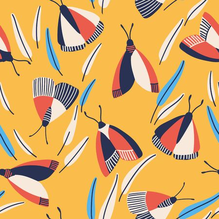 Butterfly pattern. Flying butterflies moths and leaves. Seamless fashion trendy fabric texture. Vector wallpaper. Illustration of seamless textile