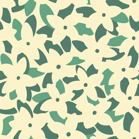 Pink frangipani (plumeria) flowers and palm leaves seamless pattern. Tropical background. Retro vector illustration