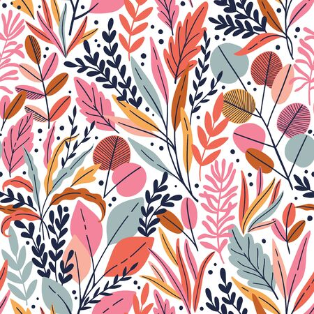 Exotic vector seamless pattern with eucalyptus leaves and plant branches. Tropical floral background Иллюстрация