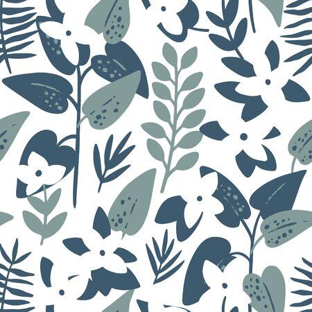 White frangipani (plumeria) flowers and palm leaves seamless pattern. Tropical background. Retro vector illustration Иллюстрация