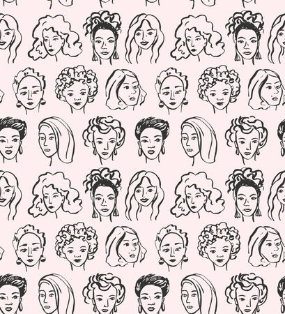 Hand drawn face pattern. Trendy woman face seamless texture with abstract line shapes, minimal girl face. Vector stylized design pattern