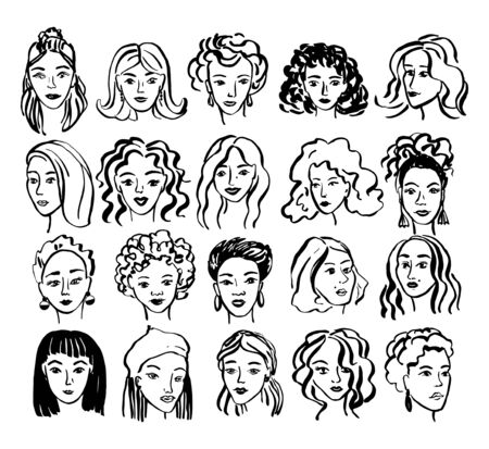 Hand drawn face collection. Trendy woman face set with abstract line shapes, minimal girl face. Vector stylized design illustration Иллюстрация