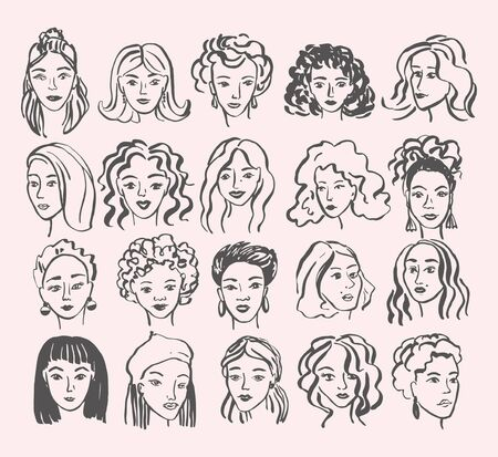 Hand drawn face collection. Trendy woman face set with abstract line shapes, minimal girl face. Vector stylized design illustration Фото со стока