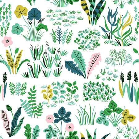 Nature seamless pattern with wildflowers, grass and leaves. Vector meadow hand drawn background
