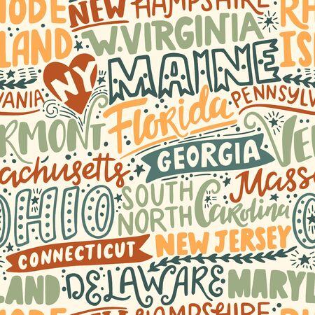 Vector seamless pattern with USA states. New York, Maine, Florida, Georgia, Vermont, Massachusetts, Ohio, Carolina, New Jersey, Connecticut, Maryland, Delaware, Virginia, Rhode Island, Pennsylvania
