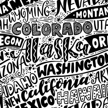 Vector seamless pattern with USA states. Washington, California, Oregon, Alaska, Colorado, Wyoming, Nevada, Montana, Utah, Idaho, Arizona, Hawaii, New Mexico