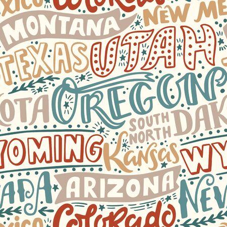 Vector seamless pattern with USA states. Oregon, Utah, Montana, New Mexico, Texas, Dakota, Wyoming, Kansas, Arizona, Nevada, Colorado