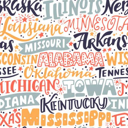 Vector seamless pattern with USA states. Illinois, Nebraska, Louisiana, Arkansas, Missouri, Wisconsin, Alabama, Tennessee, Oklahoma, Michigan, Iowa, Indiana, Kentucky, Texas, Mississippi