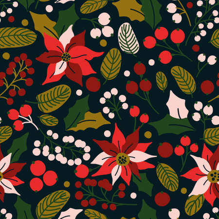 Vector seamless pattern with winter plants - poinsettia, mistletoe, branches of rowan tree with berries, holly leaves. Hand drawn vector illustration for wrapping paper, textile print. Иллюстрация