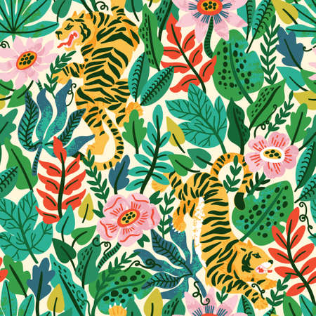 Vector seamless pattern with tigers and tropical plants. Exotic floral illustration for wallpaper, fabric, background