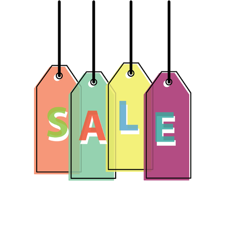 Flat Sale Lable icon with misalignment print effect