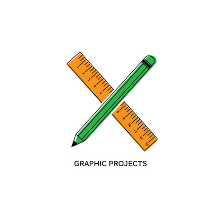 Flat Graphic design Icon with Pen and Ruler with misalignment print effect Ilustracja