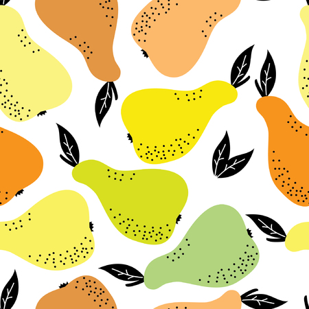 Seamless Vector Colorful Pears Pattern