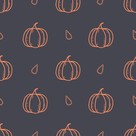 Seamless Vector Pumpkin with Seeds Pattern.