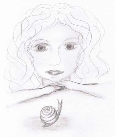Young girl watching a snail Vector