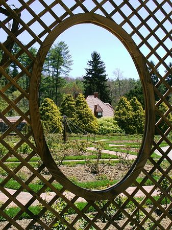 lattice window: Biltmore Estate flower garden - spring