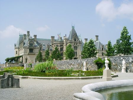 Biltmore house photographed from the ponds Stock Photo